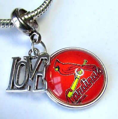ST. LOUIS CARDINALS BASEBALL CHARM PENDANT NFL SPORTS TEAM LOGO LOVE + Gift Bag