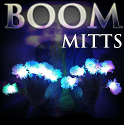 LED BOOM GLOVES with White Tips LED Gloves Rave Man Lights Flashing Hands FUN! - Gloves With Led Lights