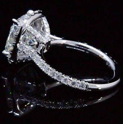 Platinum 4.18 Ct Cushion Cut Diamond Round Pave Engagement Ring  H VS1 GIA 1