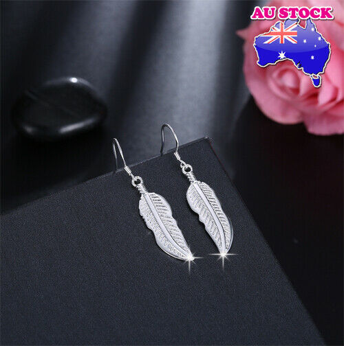Jewellery - Wholesale Elegant 925 Sterling Silver Filled Feather Dangle Earrings