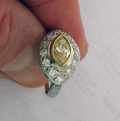 1.01 ct GIA Fancy Yellow Color VS1 Marquise Diamond Platinum Antique Ring 1.70 c 5