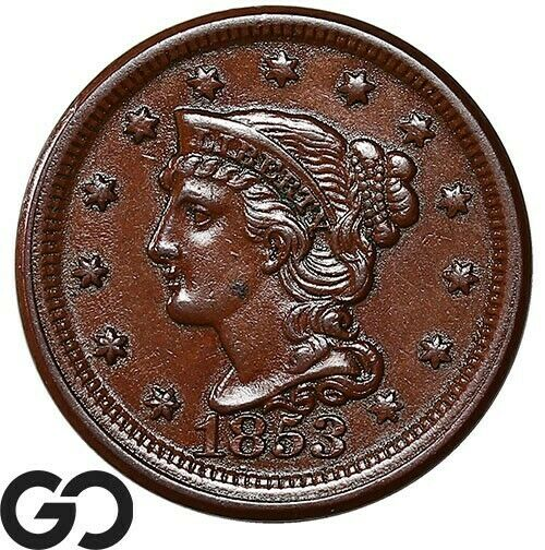 1853 Large Cent, Braided Hair, Choice Uncirculated++ Early Collector Copper