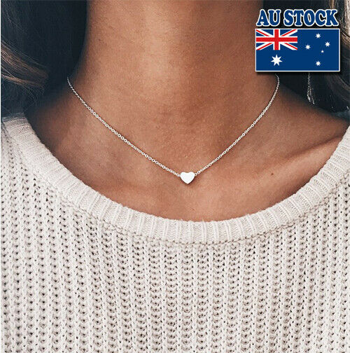 Jewellery - Genuine 18K Gold Plated Chain With Tiny Love Heart Pendant Choker Necklace