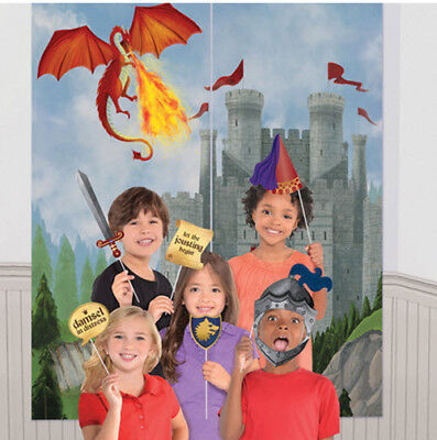 MEDIEVAL Scene Setter birthday party 13 photo booth props BACKDROP dragon castle (Birthday Photo Booth Backdrop)