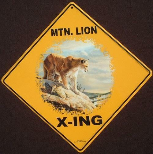 MTN. LION X-ING Sign 16 1/2 by 16 1/2 NEW cougar decor cats panther painting
