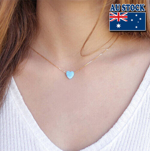 Jewellery - Genuine 18K Gold Plated Chain With Opal Love Heart Pendant Choker Necklace