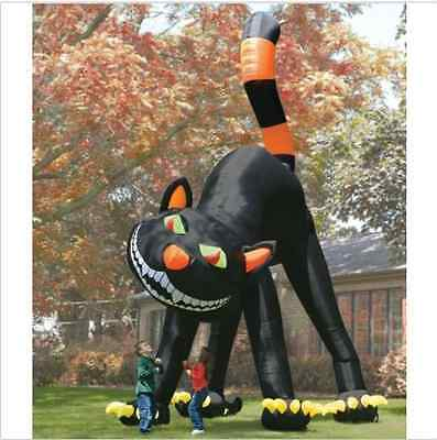 20 Ft Inflatable Halloween Cat (20ft Lovely Animated Giant Inflatable Black Cat for Halloween Decoration)