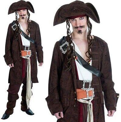 Herren Deluxe Rum Schmuggler Piratenkostüm Herren Jack Sparrow Outfit (Herren Rum Piraten Kostüme)