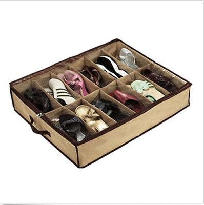 12 Pairs Shoes Storage Organizer Holder Container Under Bed Closet Box Bag