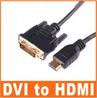 New 10Ft (3m) Gold DVI Male To HDMI Male Cable For HDTV PC LCD