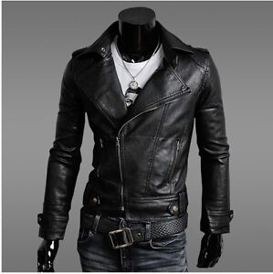 New Men Luxury Slim Punk Style PU Leather Biker Jacket Zipper Coat Blazer brown