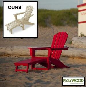 NEW POLY-WOOD ADIRONDACK CHAIR - 131301360 - WITH HIDEAWAY OTTOMAN IN SAND