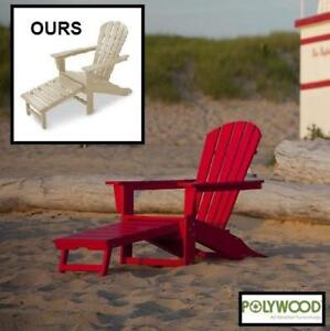 NEW POLY WOOD ADIRONDACK CHAIR HNA15SA 172465106 WITH HIDEAWAY OTTOMAN IN  SAND
