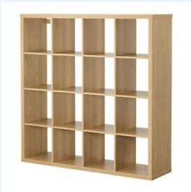 IKEA Shelf 2 x Shelves Shelving Units bookcase + desk - oak effect, great condition KALLAX