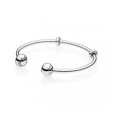 New Authentic Pandora Sterling Silver Open Bangle Charm Bracelet Medium 596477 2