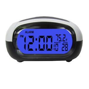 Talking-Alarm-Clock-LCD-Date-Temp-Travel-Digital-Backlight-Tells-Time-Temp-Black