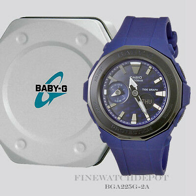 Authentic Casio Baby-G Women's Navy Beach Glamping Tide Graph Watch BGA225G-2A