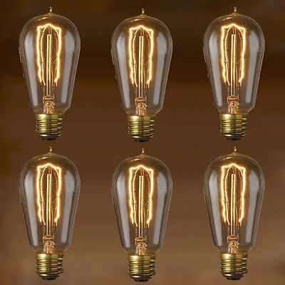 EDISON BULB - 1890-STYLE HAIRPIN FILAMENT - 6PACK - Vintage Style Repro - 40W