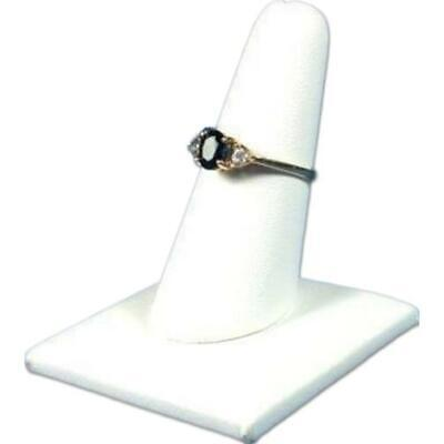 White Faux Leather Ring Finger Display Jewelry Showcase 2 X 2 14