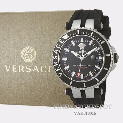 Authentic Men's Versace V-Race Diver Silicone Black Dial Watch VAK010016