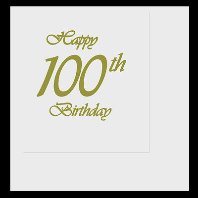 Happy 100th Birthday Party (Age 100) CLASSY GOLD LUNCHEON LUNCH DINNER NAPKINS