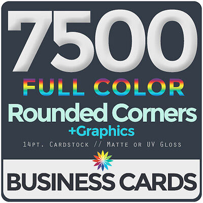 7500 Full Color Business Cards BothSides ROUNDED CORNERS, FREE DESIGN & - Business Cards Rounded Corners