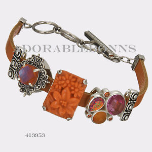 Authentic Lori Bonn Sterling Silver Fire Cracker Leather Slide Charm Bracelet
