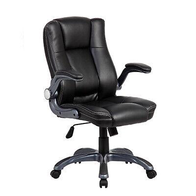 Medium Back Executive Chair - Medium Back Executive Office Chair with Flip-up Arms. Color: Black