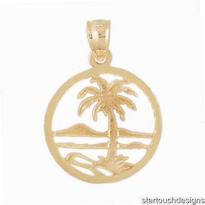 (New 14k Yellow Gold Beach Scene Palm Tree Pendant)