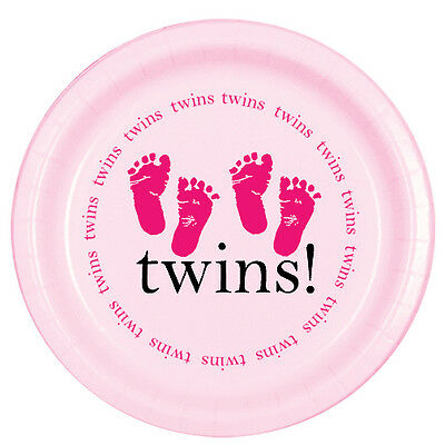 Pink Baby Girl Shower Party TWINS! FOOTPRINTS DESSERT CAKE PLATES (Twins Party Supplies)