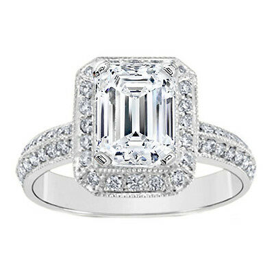 1.36 Carat Emerald Diamond Antique Engagement Ring H IF GIA Graded