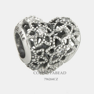 Authentic Pandora Sterling Silver Blooming Heart Clear CZ Bead 796264CZ