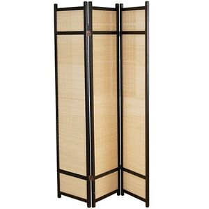 Folding Floor Screen - Bamboo and Wood