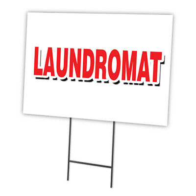 Laundromat Yard Sign Stake Outdoor Plastic Coroplast Window