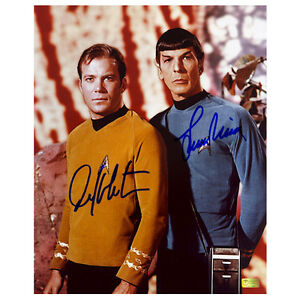 William Shatner and Leonard Nimoy Autographed 8x10 Star Trek Landing Party Photo