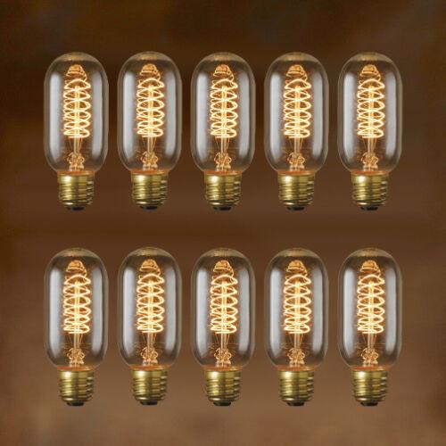 10-Pack - Nostalgic Edison Light Bulb -Spiral T14 - Vintage Style Repro - 40W