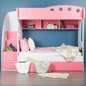 Pink and White Bunk Beds