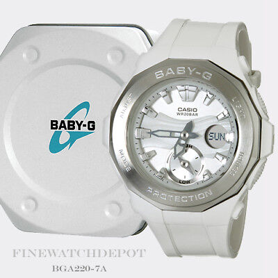 Authentic Casio Baby-G Beach Glamping White/Silver Ana-Digital Watch BGA220-7A