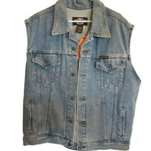 Harley Davidson Jeans Mens Denim Vest Primary SZ Large 98288-98VM New With Tags
