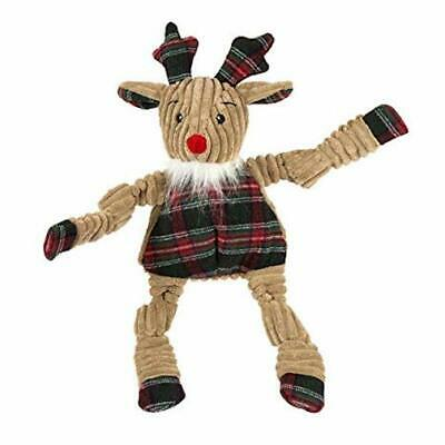 """HUGGLEHOUNDS KNOTTIES KNOT 8"""" PLAID RUDY REINDEER DOG TOY. TO THE USA"""