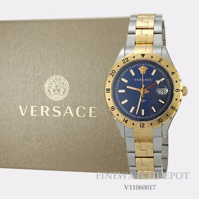 Authentic Unisex Versace Hellenyium Blue Dial Two-tone Steel Watch V11060017