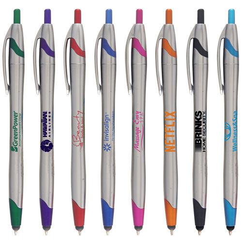 250 - Promotional Stylus Pen - Personalized Custom Imprinted Silver tone barrel.
