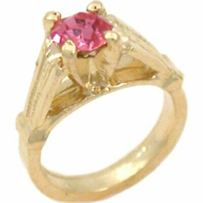 14K Gold Synthetic Tourmaline Ring Charm Birthstone