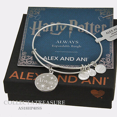 Authentic Alex And Ani Harry Potter  Always Shiny Silver Expandablecharm Bangle
