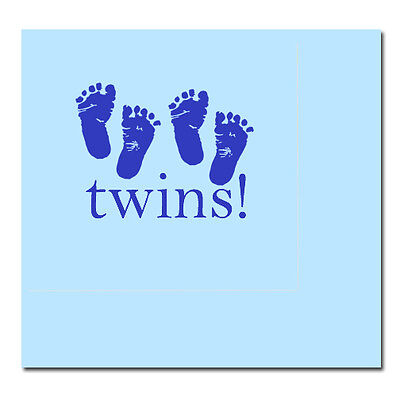 Blue Baby Boy Shower Party TWINS! FOOTPRINTS LUNCH DINNER NAPKINS