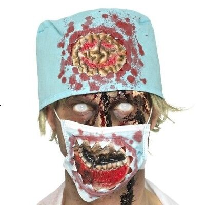 Halloween Fancy Dress Zombie Surgeon Mask & Hat Kit Zombie Set New by Smiffys