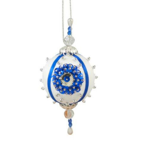 Satin Sequin & Bead Christmas Ornament Kit: Holiday Teardrops - Blue (Makes 4)