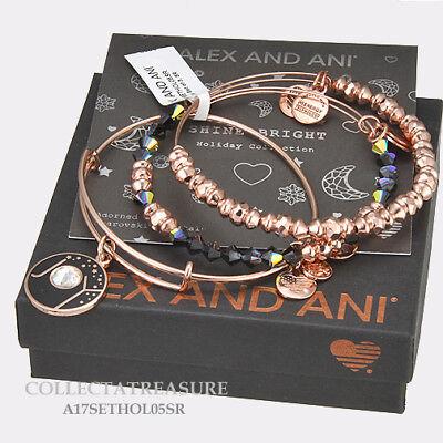 Authentic Alex And Ani  Joy  Set Of 3 Shiny Rose Expandable Charm Bangle