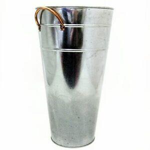 galvanised vase planter 37cm silver home garden flower. Black Bedroom Furniture Sets. Home Design Ideas