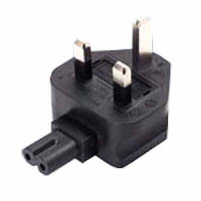 UK fused 3 prong plug to C7 2 prong receptacle, right angle